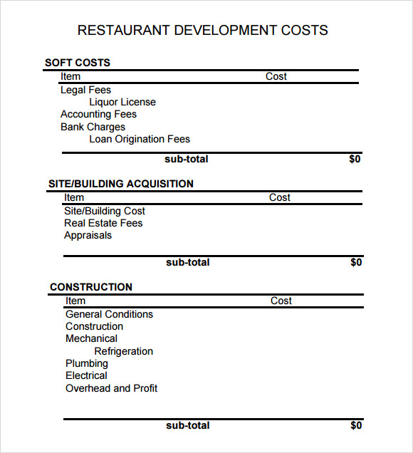 6 restaurant budget samples sample templates