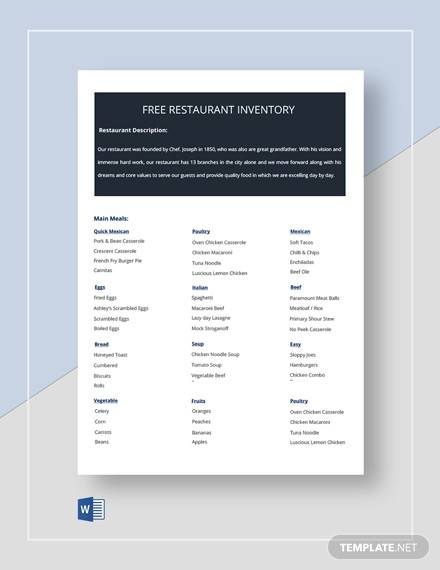 free restaurant inventory template
