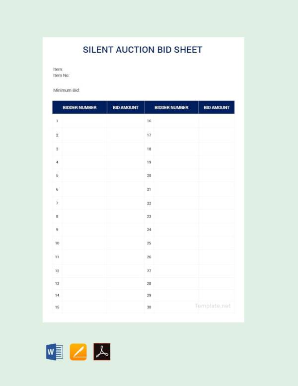 graphic regarding Free Printable Bid Sheets named Free of charge 20+ Pattern Tranquil Auction Bid Sheet Templates inside Document PDF