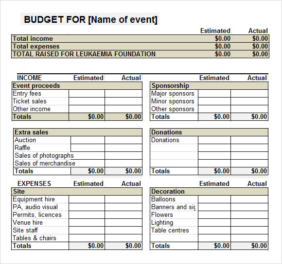 7 event budget templates sample templates for Not for profit budget template