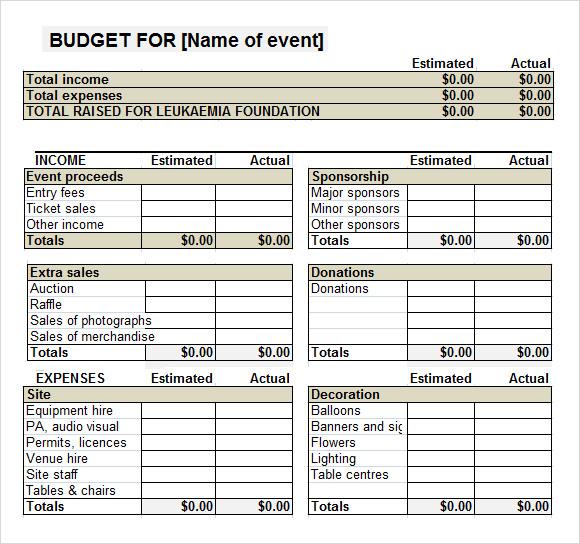 event budget worksheet template .