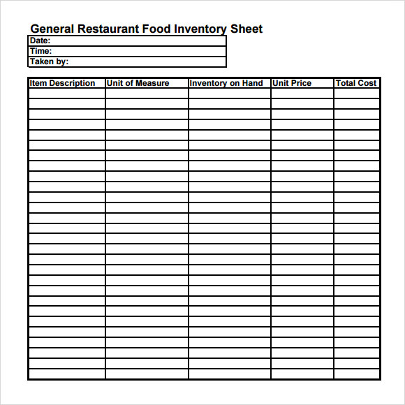 Restaurant Kitchen Inventory Template restaurant inventory list template