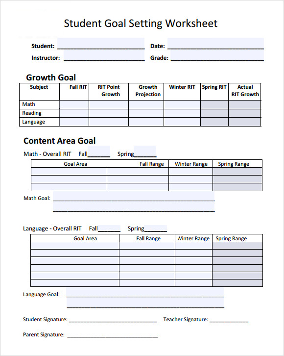 goal setting template for students