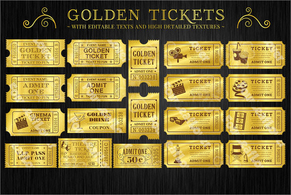 Golden Movie Ticket Template  Movie Ticket Template Free