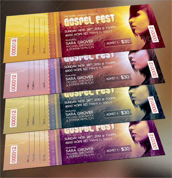 Perfect Gospel Fest Concert Ticket Template For Concert Ticket Layout