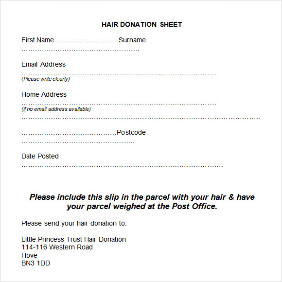 hair donation sheet