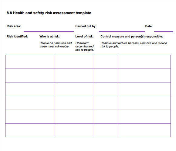 Sample Health Risk Assessment   Documents In Pdf