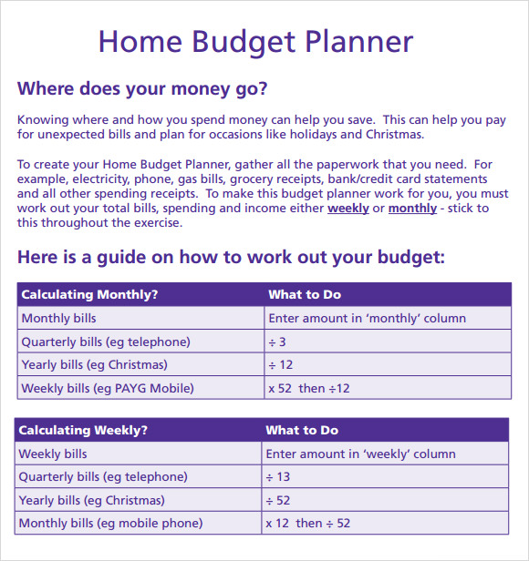 Budget Planner Template - 8 Free Download For Pdf , Excel