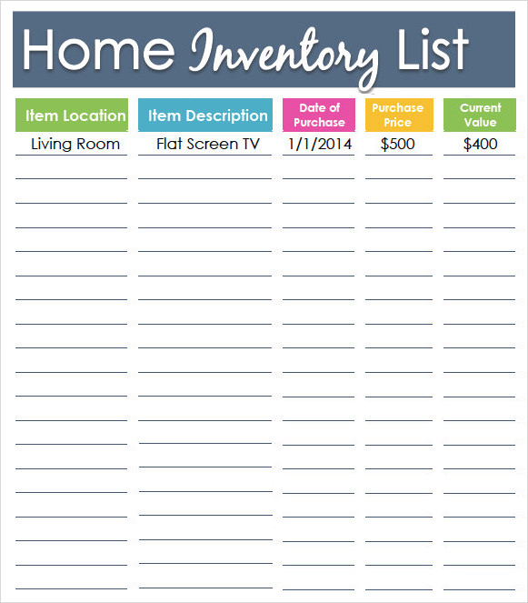 Sample Inventory List Template 7 Free Documents Download in – Home Inventory Template