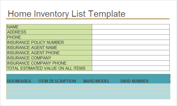 Sample Inventory List Template 7 Free Documents Download in – Household Inventory List Template
