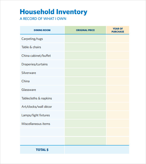 Sample Home Inventory Template - Free Documents Download in PDF