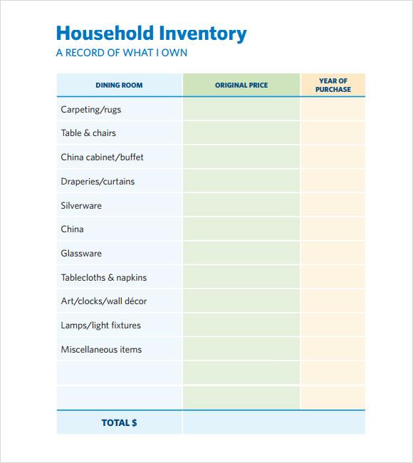 inventory checklist template .