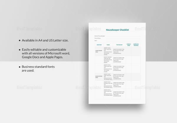 housekeeper checklist template