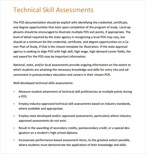 it technical skills assessment template