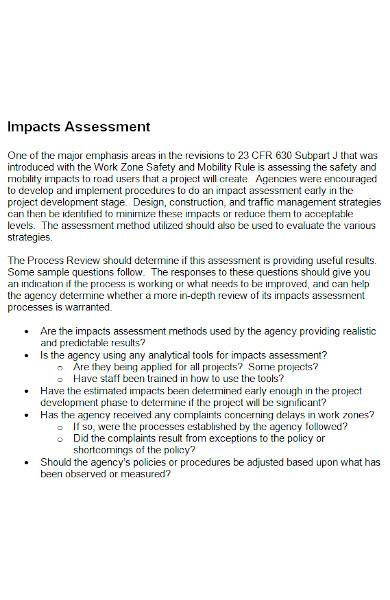 impact assessment template in ms word