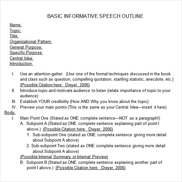 Informative speech outline essay