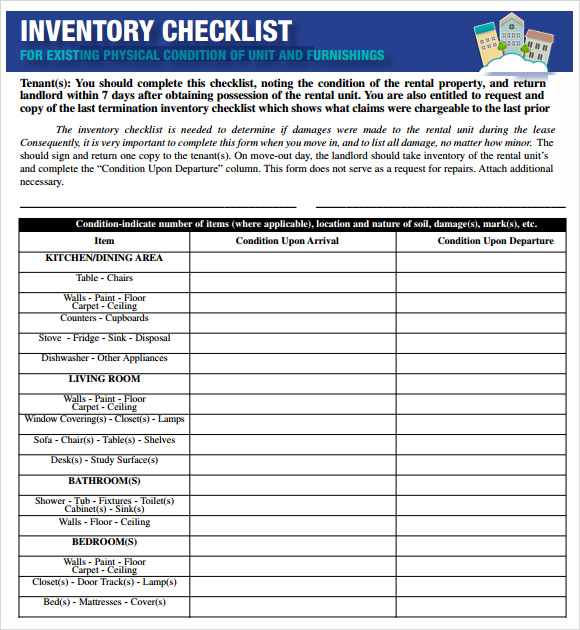 Sample Inventory Checklist   Documents In Word Excel Pdf