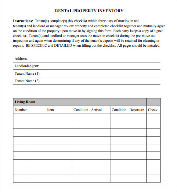 17 sample inventory checklist templates sample templates for Inventory for rental property template
