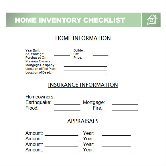 inventory checklist template word