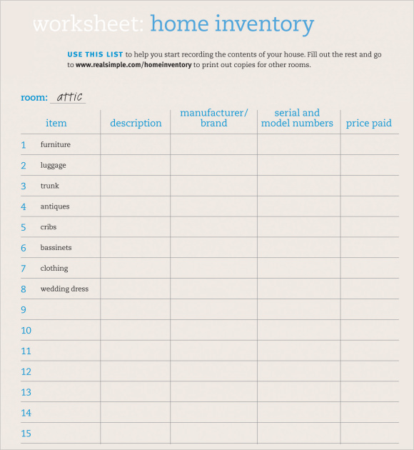 inventory sheet price