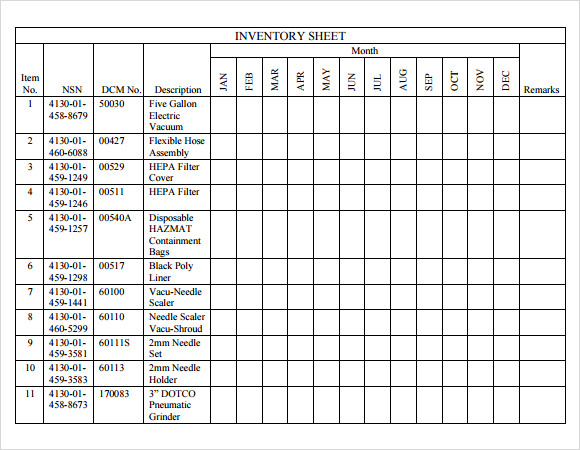 Inventory Sheet Template   Download Free Documents In Pdf