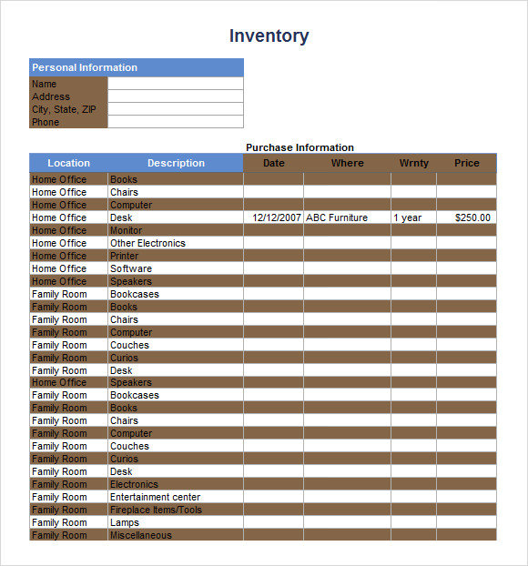 sample inventory checklist