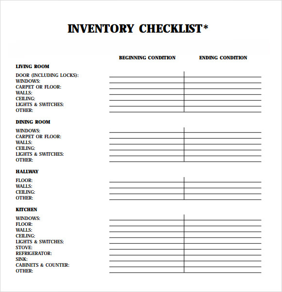 Inventory for Rental Property