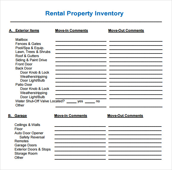 Tenancy Inventory Template   Download Free Documents In Pdf