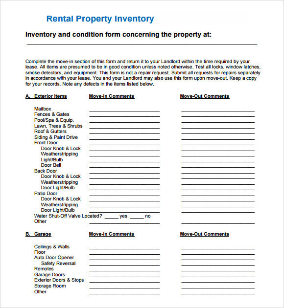 6 sample landlord inventory templates to download sample for Inventory for rental property template