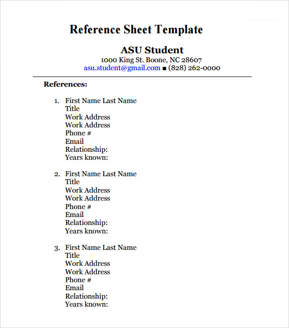 job references sheet