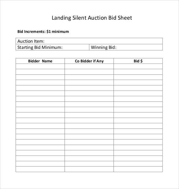 graphic relating to Free Printable Bid Sheets named Free of charge 20+ Pattern Peaceful Auction Bid Sheet Templates within Document PDF