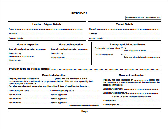 landlord inventory form template1