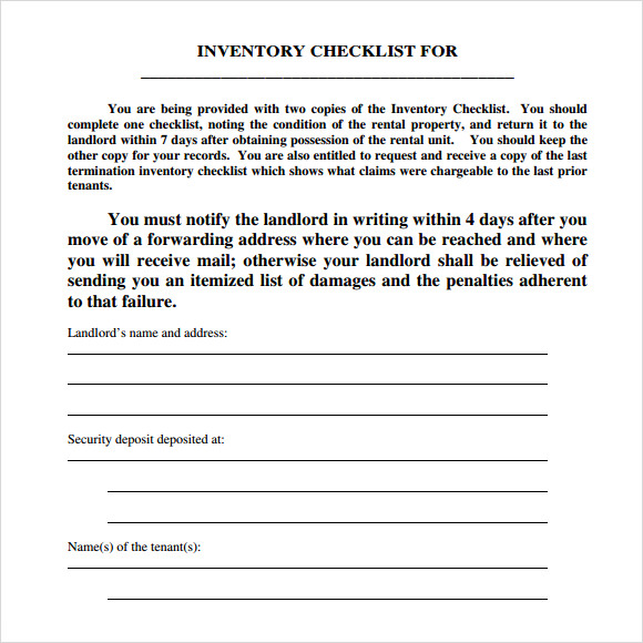 landlord inventory template