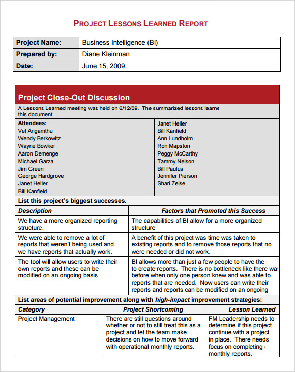 Lessons learned template 6 download free documents in for Lessons learnt project management template