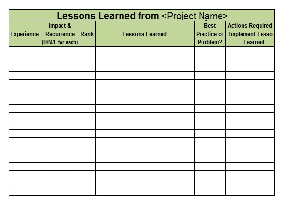 Lessons Learned Template - 6+ Download Free Documents in PDF, Word ...