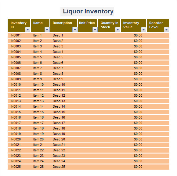 Restaurant Kitchen Inventory Template liquor inventory sheet template