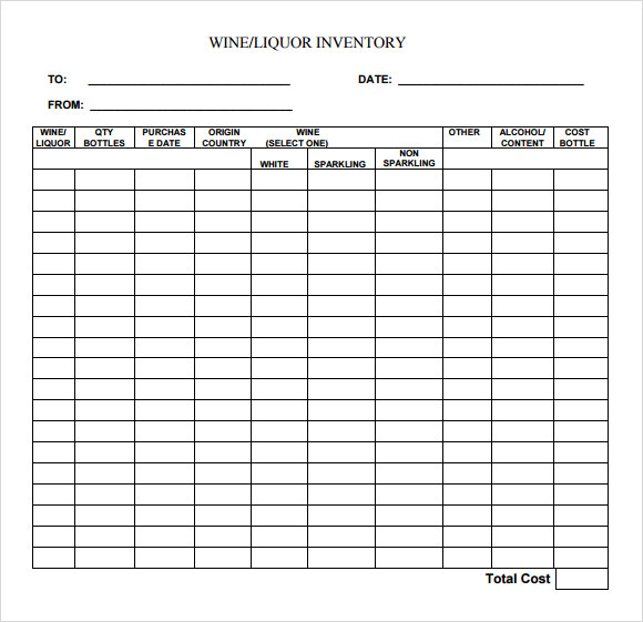 Liquor Inventory Template - 7 Download Free Documents In Pdf , Excel