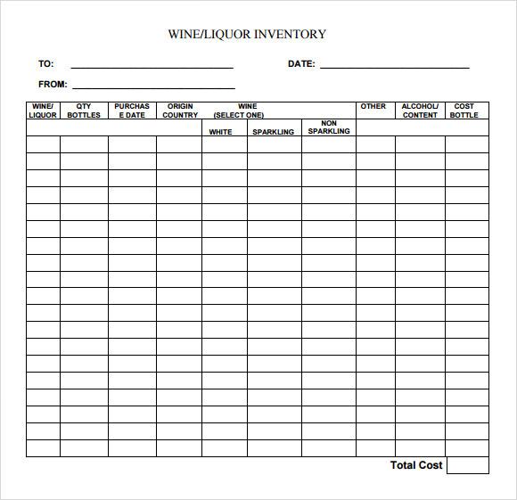 liquor inventory sheet template .