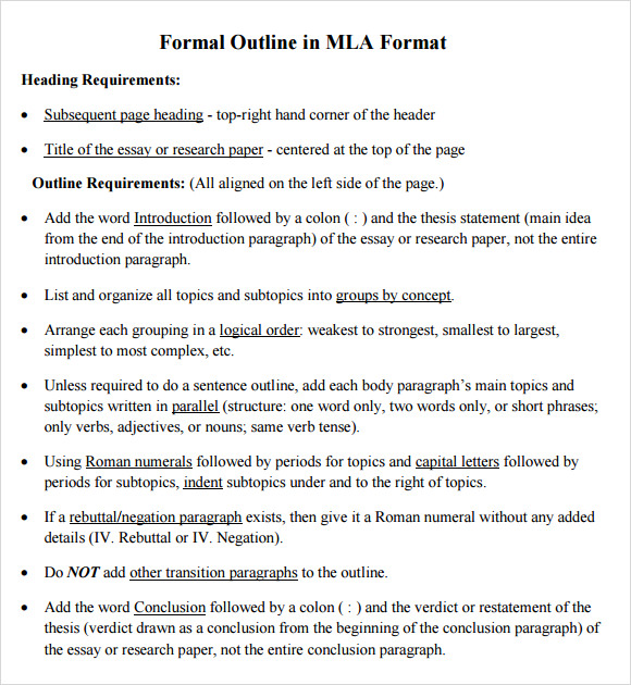 Sample MLA Outline Template - 10+ Free Documents in PDF, Word