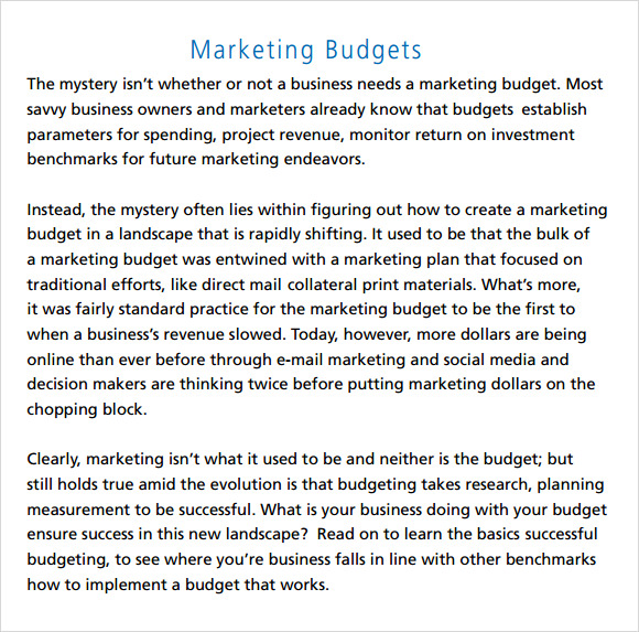 Marketing Budget Template   Download Free Documents In Pdf Excel
