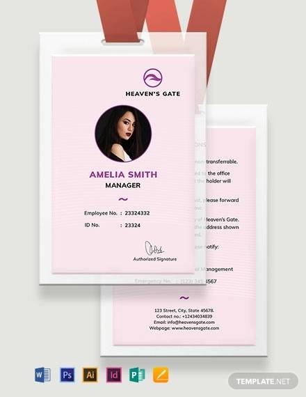 massage id card template