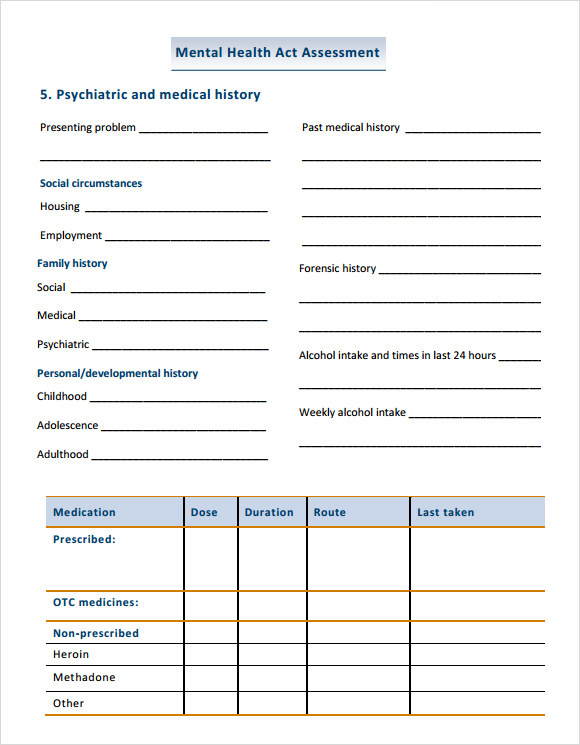 Health Assessment Template Health Assessment Template