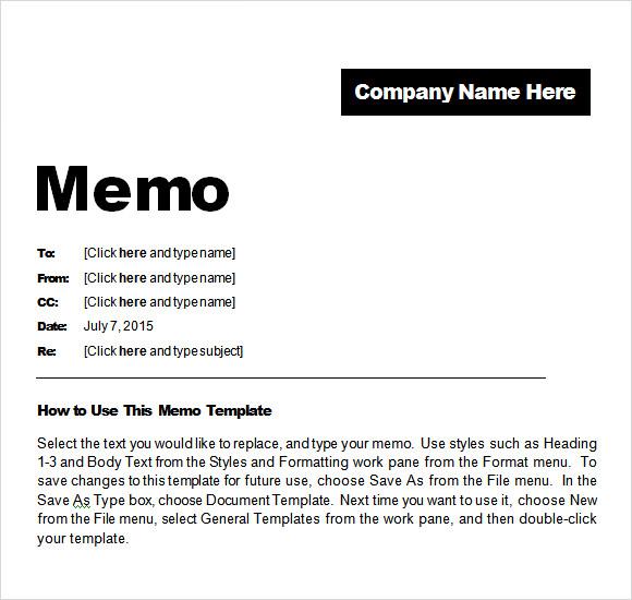 memo template free – Download Memo Template