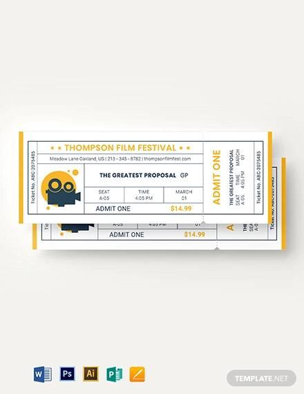 minimal movie ticket template