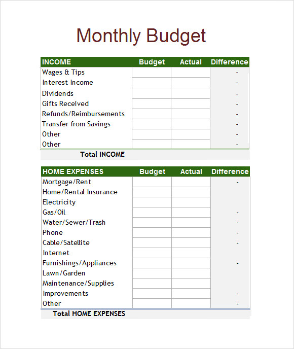 Budget Spreadsheet Templates - 6 Free Download for Excel | Sample ...