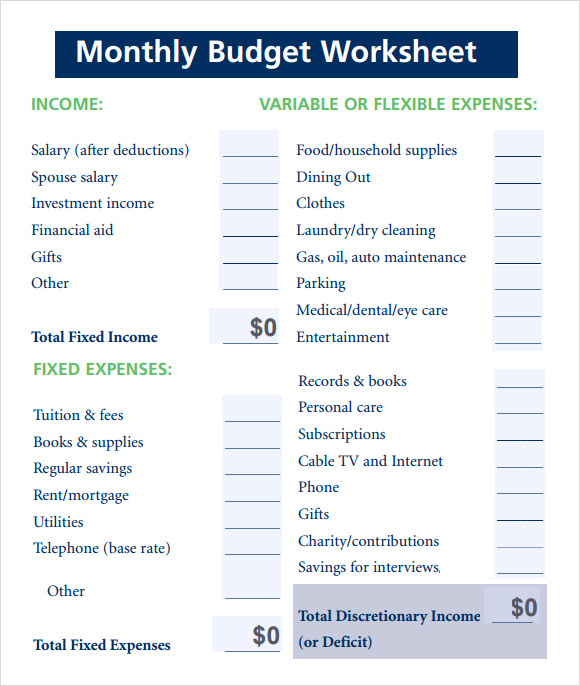 Budget Worksheet Template - 7 Free Download for PDF , Excel