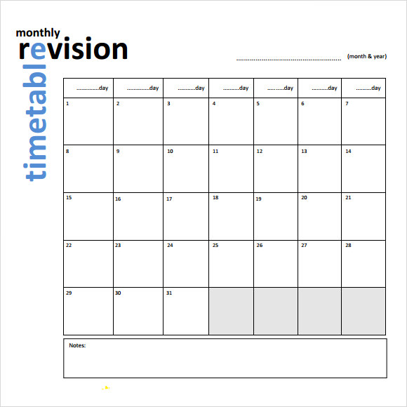 9 sample timetables sample templates for Blank revision timetable template