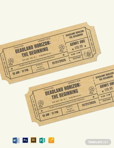 movie event ticket template