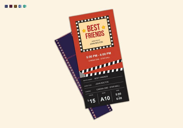 movie ticket template in psd