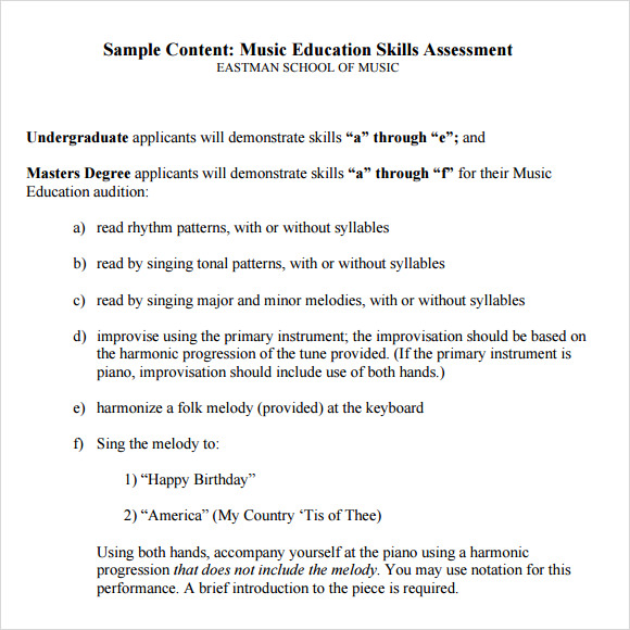 music education skills assessment template free